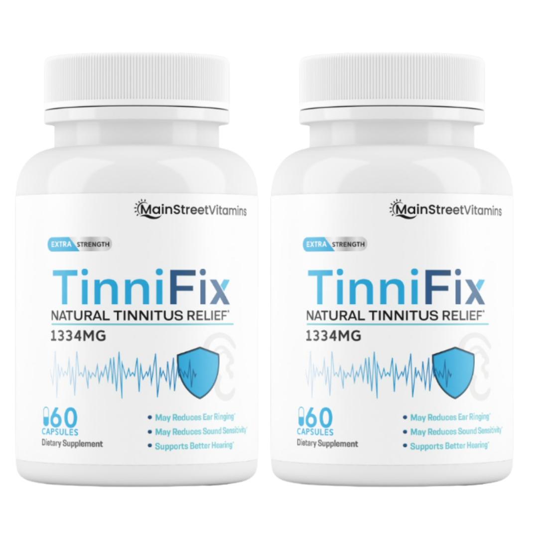 2 Bottles TinniFix Natural Tinnitus Relief Formula Ear Ringing 60 Capsules