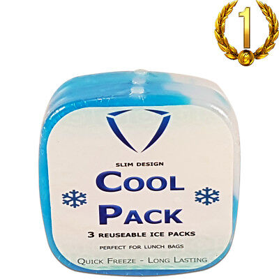 Ice Bricks For Lunch Bags Ice Packs Ice Freezer Block Cold Pack -3 Pack Slim, used for sale  Shipping to Canada