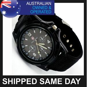 BLACK MENS SWISS MILITARY ARMY WATCH Quarts Sports Wrist Analog Infantry Strap