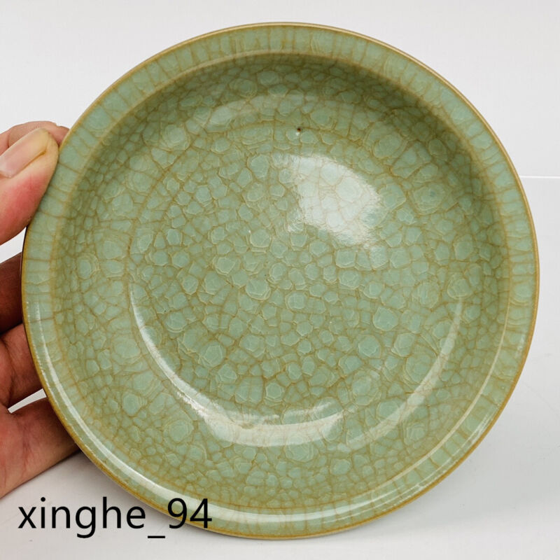 "5.7""Old Song dynasty Porcelain ru kiln cyan Ice crack Folding edge Brush Washer"