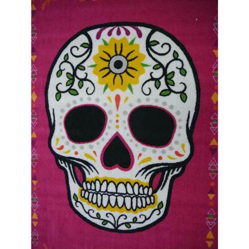 Kids Play Mat Hot Pink Sugar Skull 100cm x 150cm Day of the Dead Floor Rug New