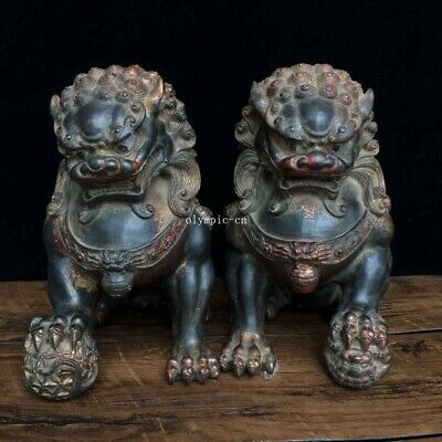 9/'/' bronze copper carved home fengshui auspicious beast treasure bull ox statue