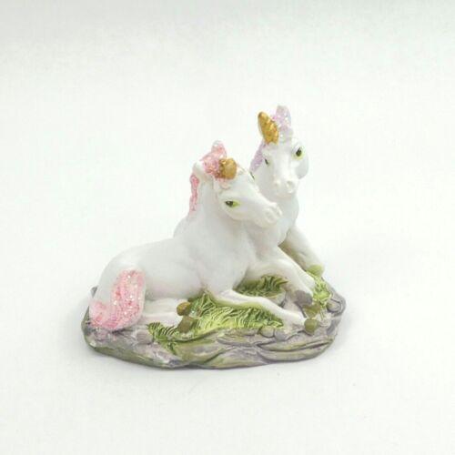 Mini Double Unicorn Figurine Pink Purple Mane & Tail Mythical Fantasy Statue 4