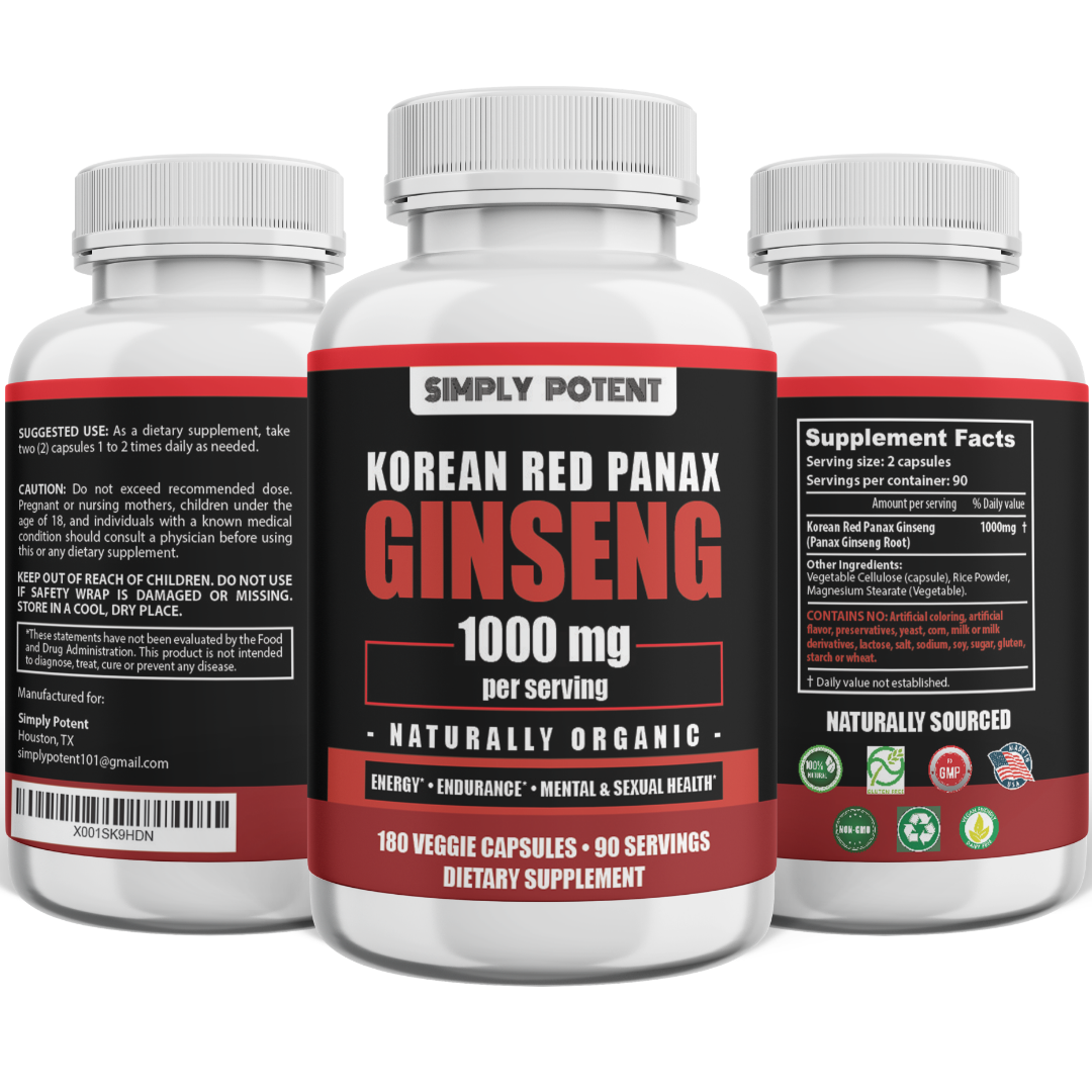 Korean Ginseng Red Panax Ginseng 1000 mg Huge 3 Month Supply for Energy & Libido 1