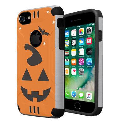 Cute Pumpkins For Halloween (Cute Slim Defender Silver Black Case for Apple iPhone 7 -Halloween)