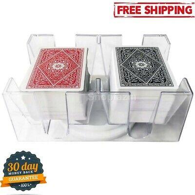 Playing Card Tray 6 Deck Revolving Rotating Canasta Plastic Holder Organizer New