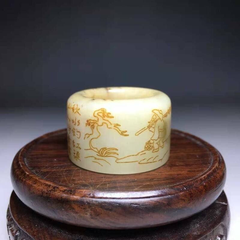 Chinese Natural Hetian Jade Handcarved Exquisite Ring 97153