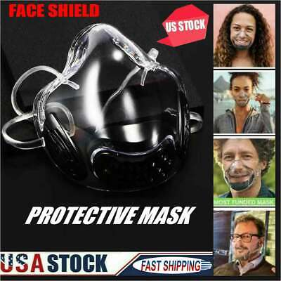 Black Face Shield Clear Transparent Face Mask Cover Lip Reading Smile Time Mask