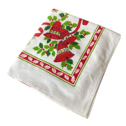 Christmas Tablecloth Vintage Print 45 x 50 As Is