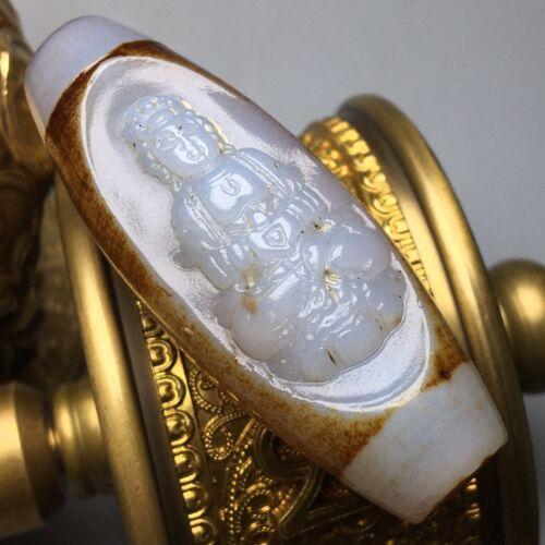 Ancient Tibetan Old Agate Dzi *Star Moon Sun &Carved Guanyin* Bead Pendant K722