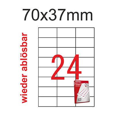 96 Etiketten 70x37mm ablösbar non permanent 4 Blatt A4 Kores Radex