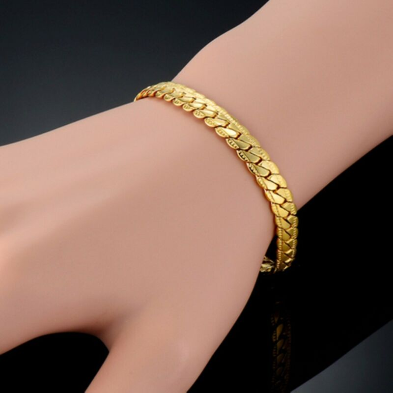Sparking Men Women 18k Yellow Gold Filled Bracelet Chain Cur