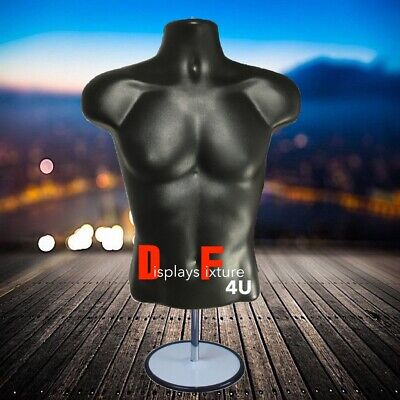 Mannequin For Jewelry Or Clothing Displays - Male Form Stand Hook - Black