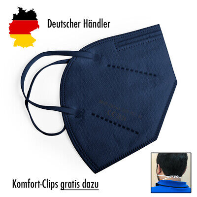 6x Hochwertige FFP2 Maske Mundschutz 5-lagig blau ✅ mit Ohren-Komfort-Clip