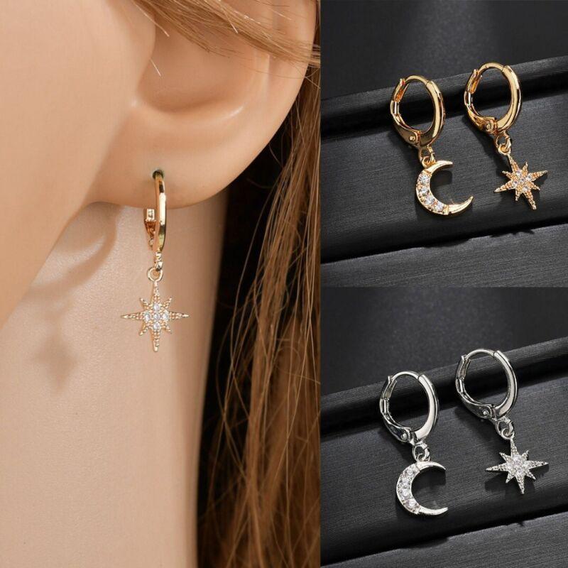 Gold Girls Charm Earrings Stud Moon Hoop Star Crystal Small