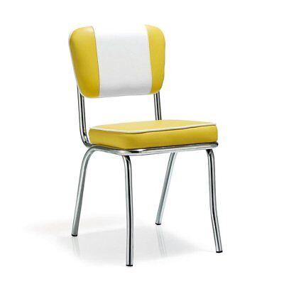 American Retro Stuhl Diner 50er Retro Chrom Kunstleder Farbe gelb-weiß ()