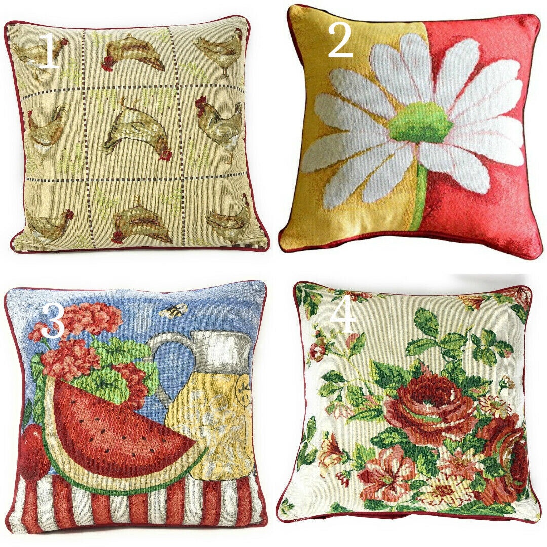 tache country farmhouse spring chickens floral tapestry