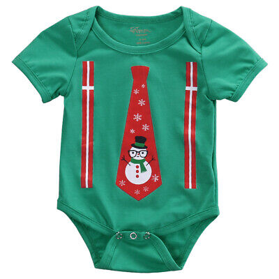 Cute Newborn Baby Boy Girl Casual Christmas Romper Cotton Outfits