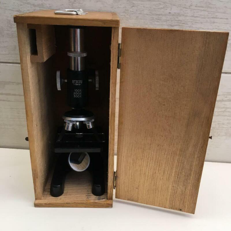 Antique microscope color black with wooden box Medical & Lab Equipment Devices