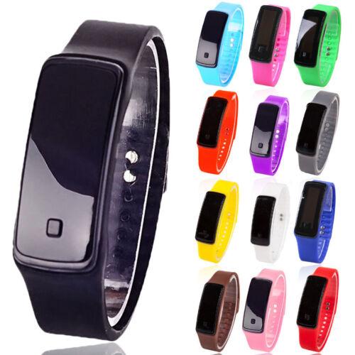 Damen Herren Kinder Uhr Led Digital Sportuhr Armbanduhren Silikon Armband Uhren