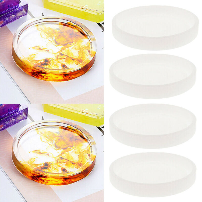 US 4Pcs Round Silicone Mold Coaster Jewelry Making Resin Cas