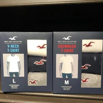 NWT Hollister Abercrombie Must Have V-Neck Crew Neck T-Shirt 3-Pack FOR HIM $36