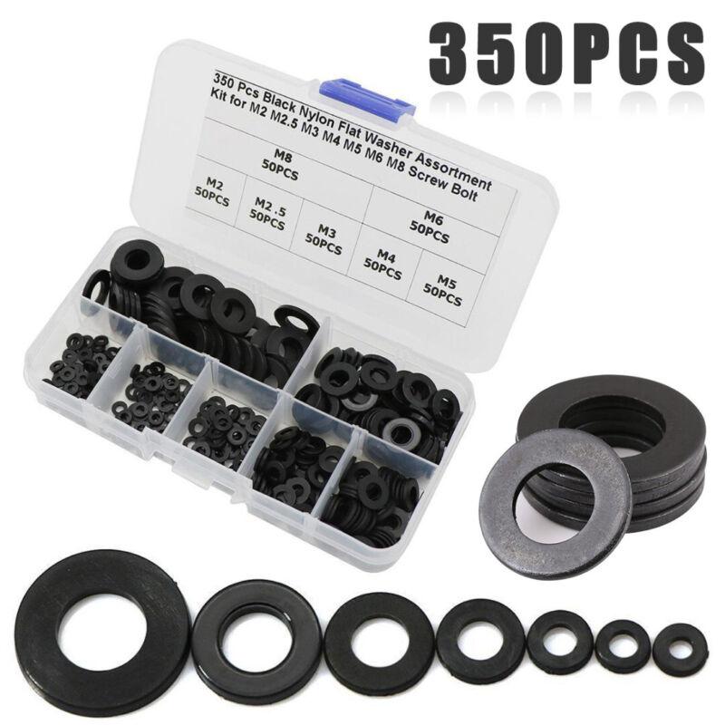 350pcs 7 Sizes Black Nylon Flat Washer Assortment Kit Set M2