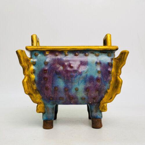 China Dynasty Jun kiln Porcelain Gilt 4 leg Ding Incense Burner incensory Censer