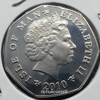 2010 IOM T.T. Currency 50p Coin with AA die letters