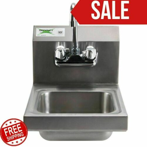 """12"""" x 16"""" Wall Mount NSF Hand Wash Sink Restaurant Stainless Steel Commercial"""