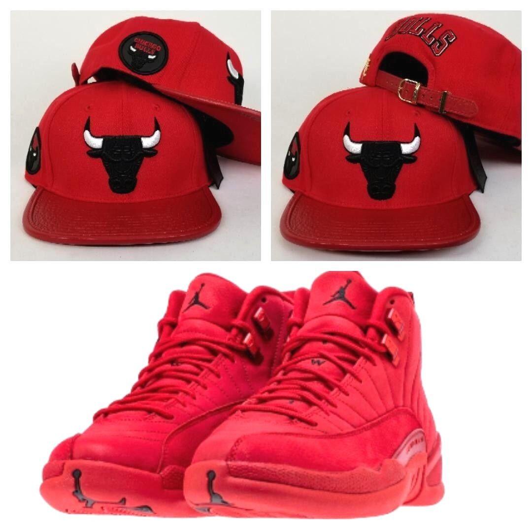 fa165082d22 Details about Matching Pro Standard Chicago Bulls Adjastable Strapback Hat  for Jordan 12 Red