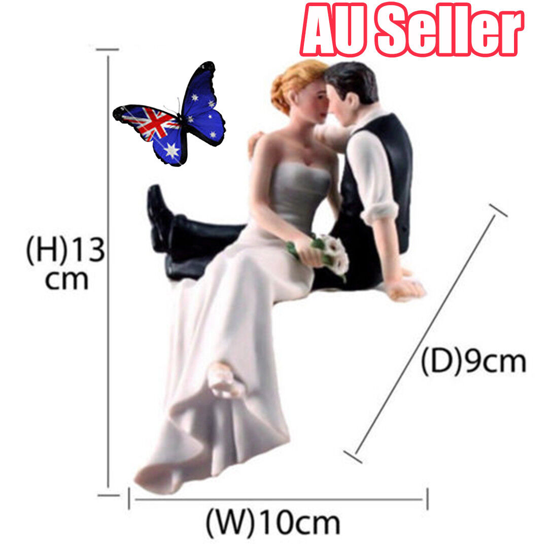 Romantic Resin Wedding Cake Topper Figure Bride And Groom Black Couple Decor