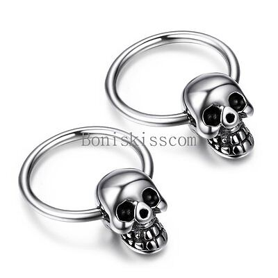 Punk Rock Silver Stainless Steel Men's Skull Head Hoop Earrings Halloween Gift - Halloween Earrings