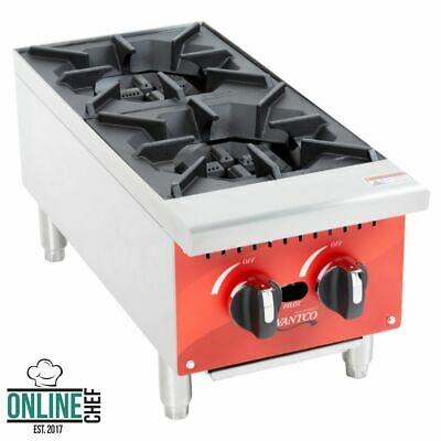 2 Hot Plate Gas Burner Commercial Countertop Range 50000 Btu Restaurant Nsf 12