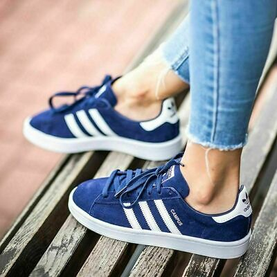 ADIDAS CAMPUS J WOMENS / GIRLS TRAINERS NAVY WHITE SIZE UK 3.5 4.5 5 5.5 RRP £50