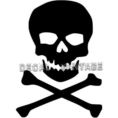 Classic Skull and Crossbones Vinyl Sticker Decal - Choose Size & Color - Skull And Crossbones Stickers