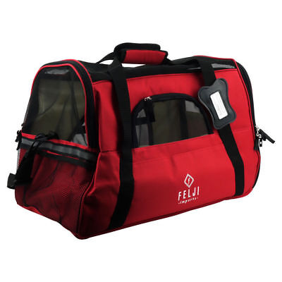 Felji Pet Carrier Cat Dog Airline Approved Fleece Bag Large Red