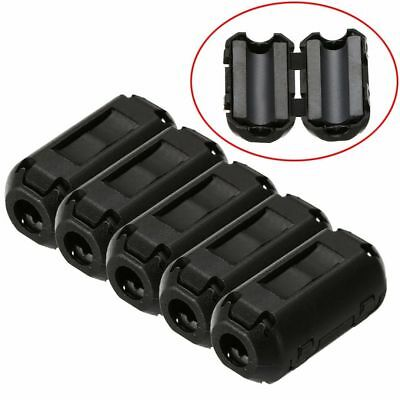 5pcs 3.5mm Noise Suppressor Emi Rfi Clip Choke Ferrite Core Cable Filter Black