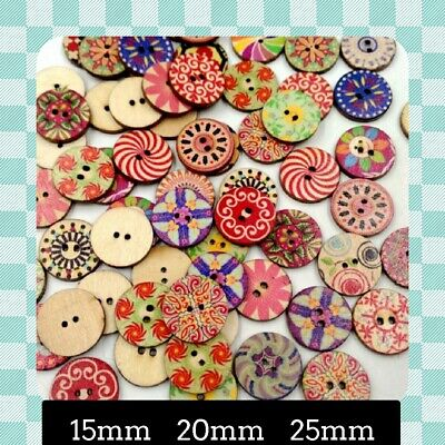 Shabby Chic - Vintage - Retro - Wooden Buttons  Qty 25 -100  Crafting - Sewing