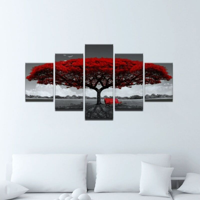 5Pcs Red Tree Modern Canvas Oil Painting Wall Art Home Pictu