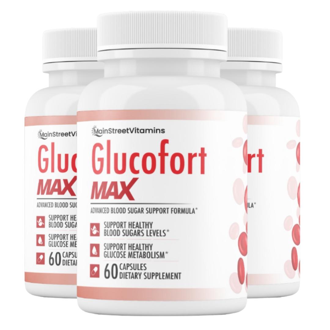 3 Glucofort Max Advanced Formula Blood Sugar Support Formula 180 Caps -3 Bottles