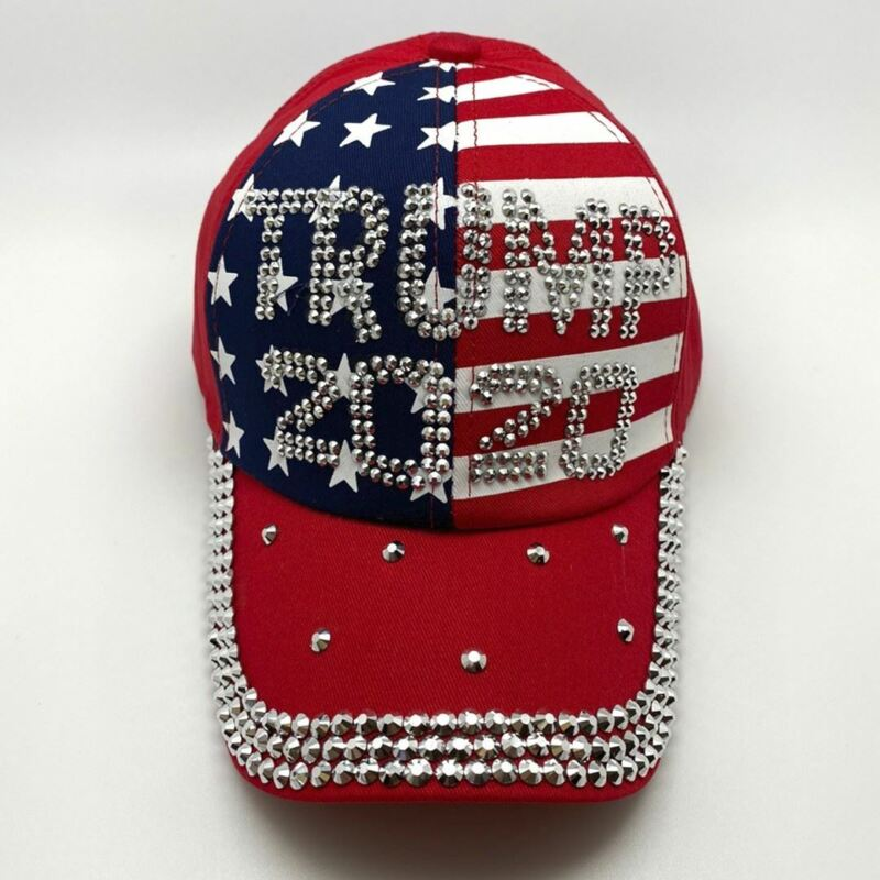 US FLAG RHINESTONE BLING TRUMP HAT Red White and Blue