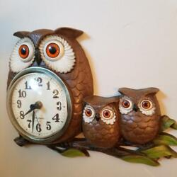 Vintage Burwood Products New Haven Quartz_3 Owl Wall Clock