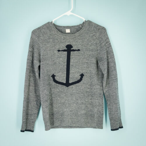 J Crew Crewcuts Size 14 Sweater Anchor Print Nautical Crew Neck Cotton Boys Grey