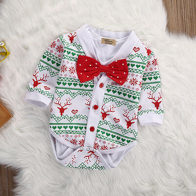 Newborn Baby Boy Costumes (US Newborn Infant Baby Boy Snowflake Coat+Rompers Bowtie XMAS Outfits)
