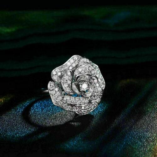 14K White Gold Beautiful Engagement & Wedding Rose Flower Ring 2.91 Ct Diamond