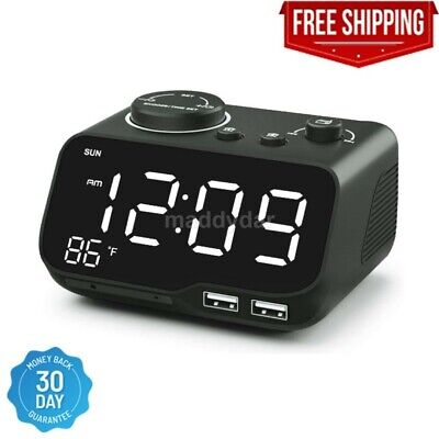 Digital Dual Alarm Clock Radio with USB Charging Port,Temperature&Large Display