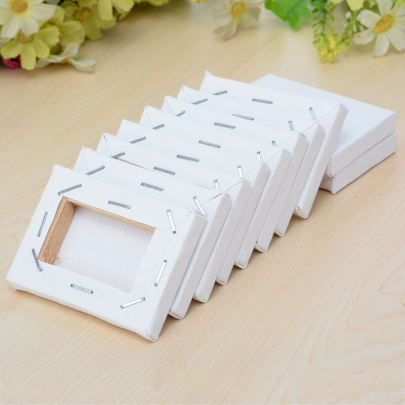 10Pcs 5x7cm White Blank Mini Stretched Artist Canvas Art Boa