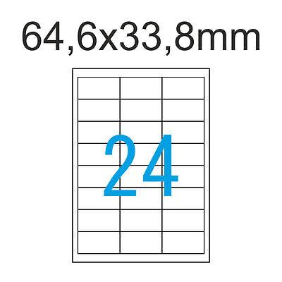 Etiketten 64,6 x 33,8 mm 600 Stück 25 Blatt A4 Luma Klebepapier Weiß 64x33