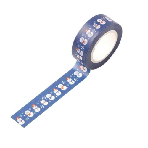 10 Meters Washi Craft Tape Blue Winter Festive Snowman Adhesive 15mm Wide